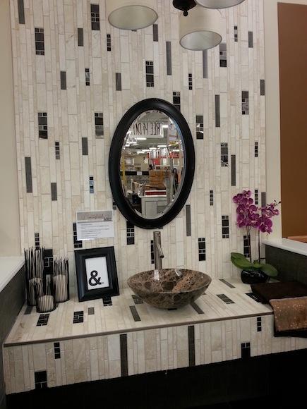 Dimensional rectangular tile in a bathroom
