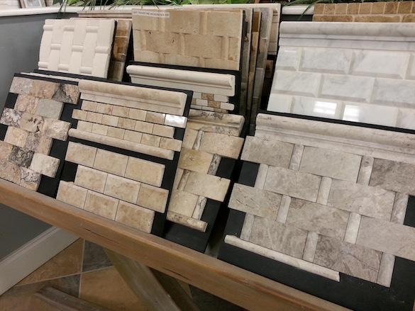 Dimensional rectangular tile on display