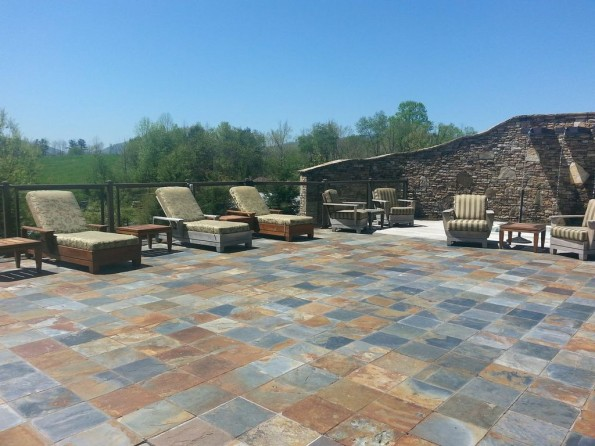 Elegant Slate Tile On An Outdoor Patio