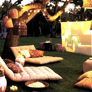 Backyard with lots of cushions to sit on