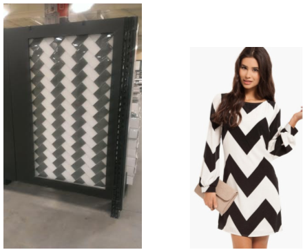 Image of zig zag tile pattern display next to a woman with a zig zag pattern dress