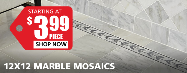 12x12 Marble Mosaics starting at $3.99 per piece