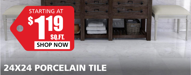 24x24 Porcelain Tile starting at $1.19 per square foot