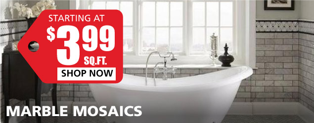 Marble Mosaics starting at $3.99 per square foot